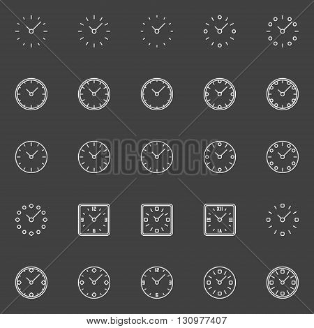 Clocks line icons - vector minimal time or clock symbols in thin line style on dark background. Watch outline signs