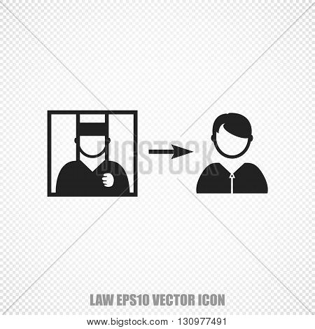 The universal vector icon on the law theme: Black Criminal Freed. Modern flat design. For mobile and web design. EPS 10.