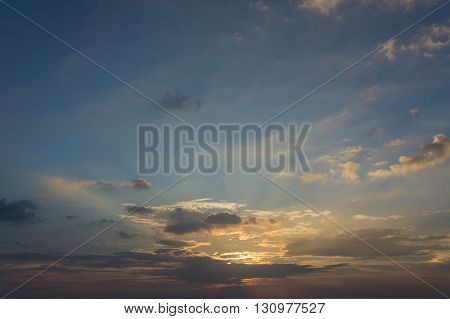 Colorful cloudy dark sky after sunset, cloudscape