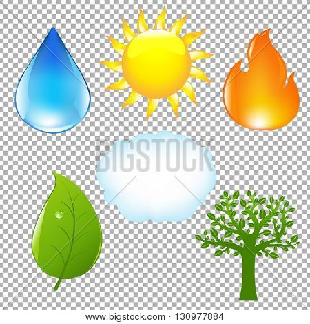 Big Nature Eco Set, Isolated on Transparent Background, With Gradient Mesh, Vector Illustration