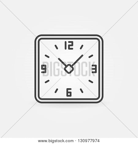 Clock in rounded squares icon - vector thin line time or watch symbol