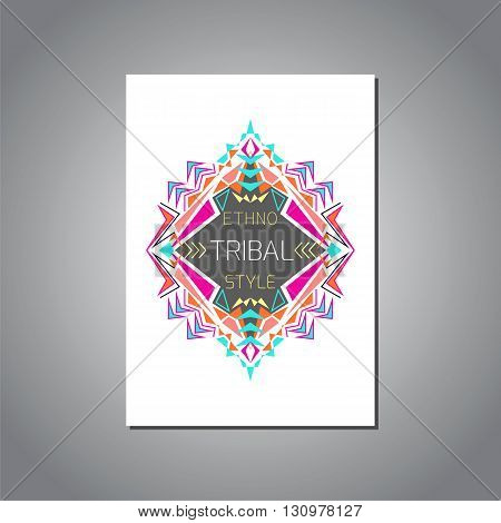 Vector geometric colorful brochure template for business and invitation. Ethnic tribal aztec style. A4 layout format. Modern ethno ikat pattern