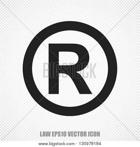 The universal vector icon on the law theme: Black Registered. Modern flat design. For mobile and web design. EPS 10.