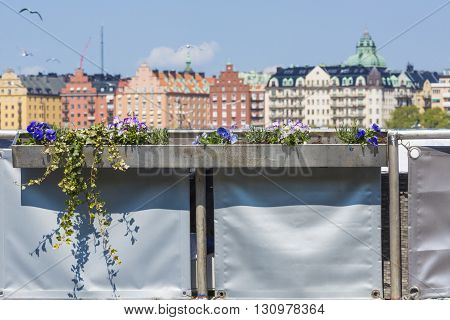 Scenic panorama of the Old Town (Gamla Stan) pier architecture in Stockholm Sweden