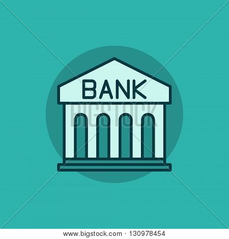 Bank flat icon - vector bank building sign. Bank concept illustration on green background