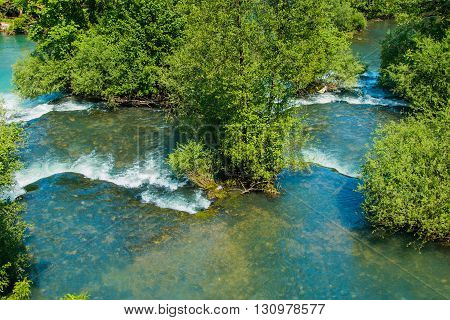 Panoramic view on beautiful waterfalls on Slunjcica river in the village of Rastoke near Slunj in Croatia