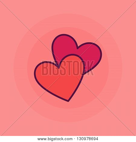 Two hearts flat icon - vector heart symbol or love sign. Colorful illustration for wedding