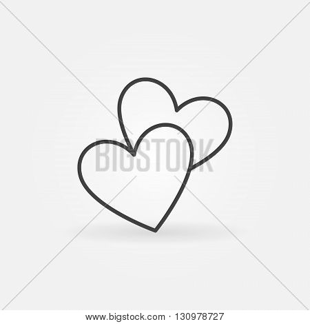 Two hearts line icon - vector simple heart symbol or love sign. Linear logo element for wedding
