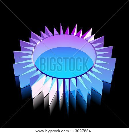 Tourism icon: 3d neon glowing Sun made of glass with reflection on Black background, EPS 10 vector illustration.