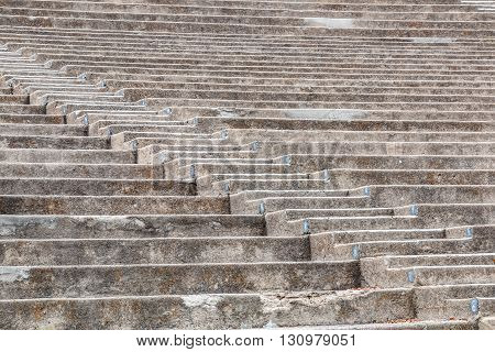 Amphitheater seating and steps at Mt. Helix Park in La Mesa, a city in San Diego, California.