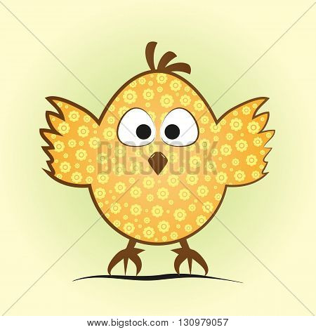 Comic little chicken in an egg shape. Funny chick with a flower pattern tufted big eyes and feet on green and yellow background.