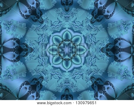 Fractal image resembling intricate blue lace effect