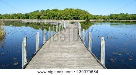 Boardwalk Across a Pond on Sunny Calm Day