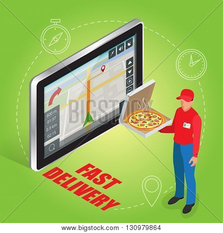 Geolocation gps navigation touch screen tablet and Fast delivery service. Pizza delivery concept. Flat 3d vector isometric illustration
