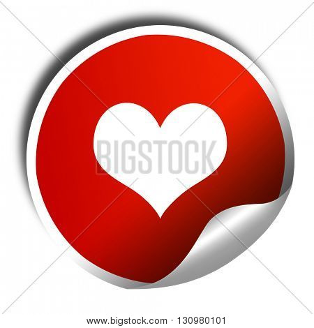 Hearts card background, 3D rendering, red sticker with white tex