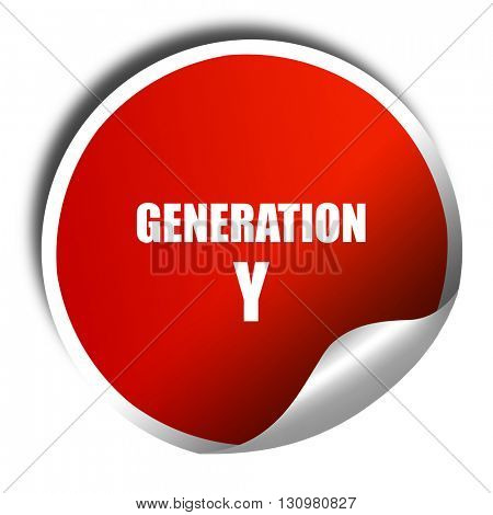 generation y word, 3D rendering, red sticker with white text