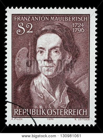 ZAGREB, CROATIA - JULY 03: stamp printed by Austria, shows Franz Anton Maulbertsch, Austrian painter and engraver , circa 1974, on July 03, 2014, Zagreb, Croatia