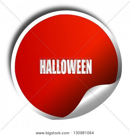 halloween, 3D rendering, red sticker with white text