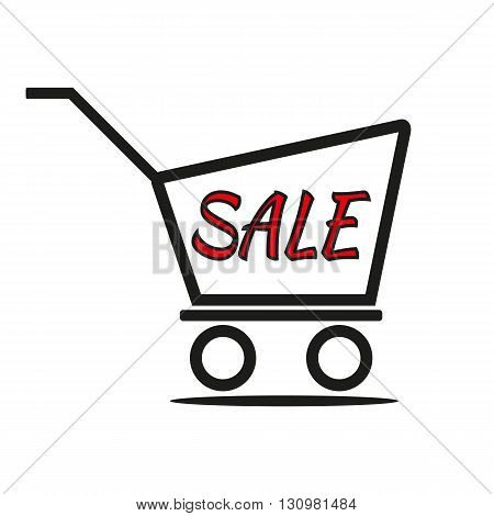Vector black shopping trolley and red inscription Sale. Isolated illustration.