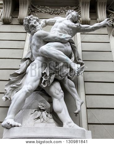VIENNA, AUSTRIA - DECEMBER 09: Hercules fighting Antaeus, Hofburg, Vienna, Austria, on December 09, 2011.
