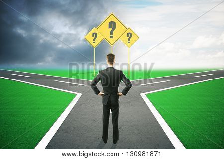 Different direction concept with question mark signs and businessman choosing between different roads under dull and bright skies. 3D Rendering