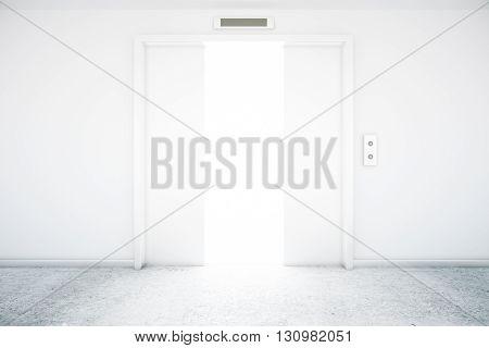 Open elevator door with bright light. 3D Rendering