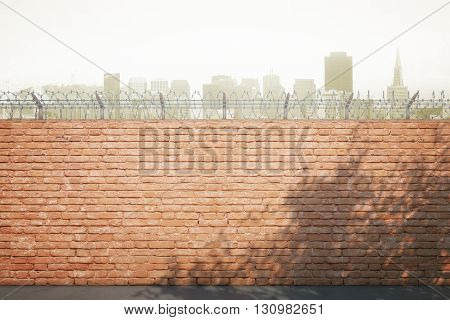 Red brick prison wall with shadows and city view. Mock up 3D Rendering