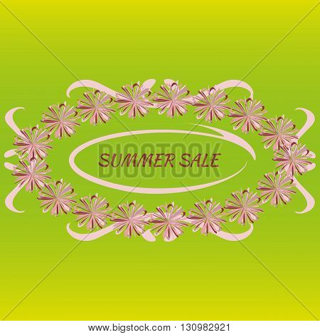 Pink with a purple oval floral frame for text with ornate curves and the inscription Summer Sale on a green background. Abstract.