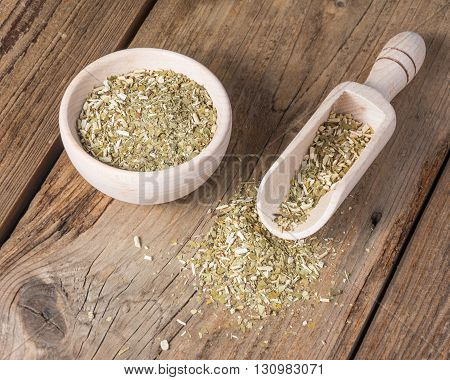 dry yerba mate leaves on wooden table