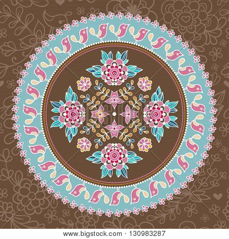 Ornamental round lace. Ethnic seamless pattern. Floral design element in vector. Indian ornament.