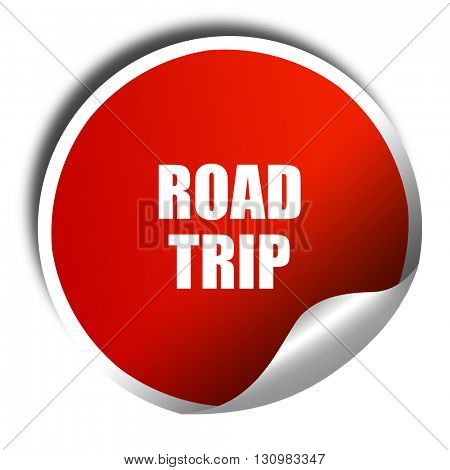 roadtrip, 3D rendering, red sticker with white text