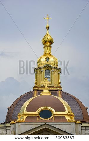 Architectural detail of the Cathedral of St. Peter and St. Paul in the Fortress of St. Peter in St. Petersburg