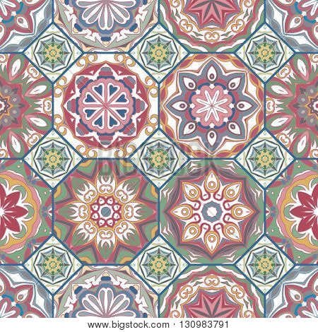 Gorgeous floral tile design. Moroccan or Mediterranean octagon tiles, tribal ornaments. For wallpaper print, pattern fills, web page background, surface textures. Textile pastel colors