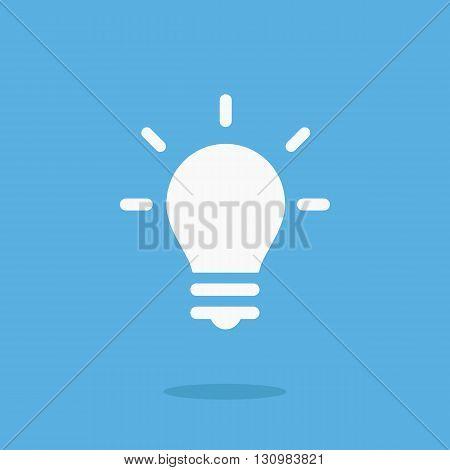 White lightbulb icon. Vector lightbulb pictogram. Vector illustration isolated on blue background