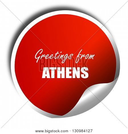 Greetings from athens, 3D rendering, red sticker with white text