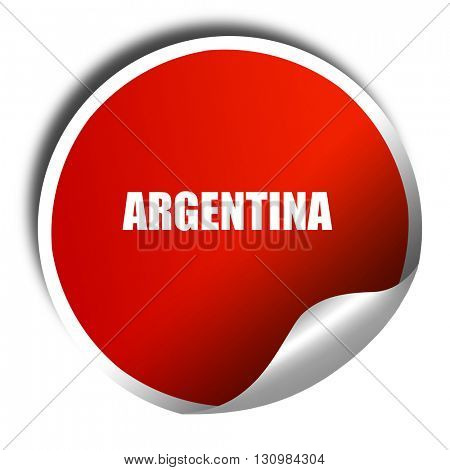 Argentina, 3D rendering, red sticker with white text