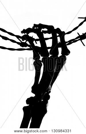 Silhouette of a skeleton hand holding barbed wire
