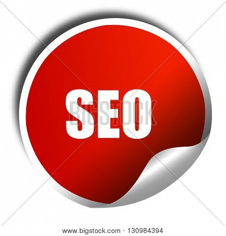 Search engine optimalization, 3D rendering, red sticker with whi