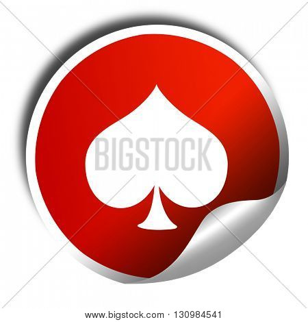 Spade card background, 3D rendering, red sticker with white text