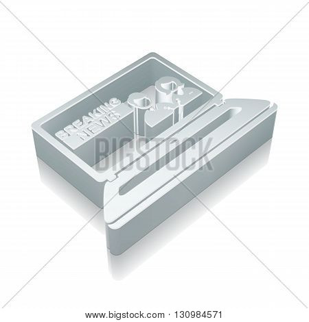 News icon: 3d metallic Breaking News On Laptop with reflection on White background, EPS 10 vector illustration.