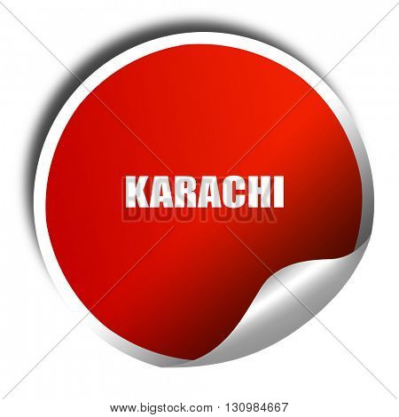 karachi, 3D rendering, red sticker with white text