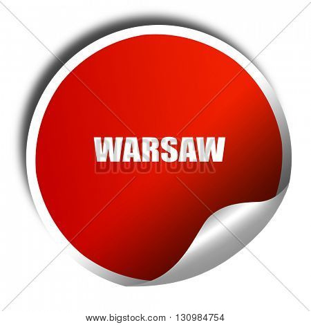 warsaw, 3D rendering, red sticker with white text