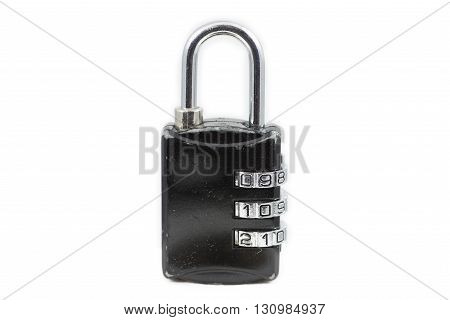 old lock with security code on white background