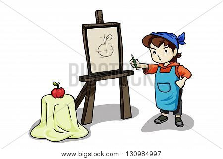 Vector illustration girl learning to draw something