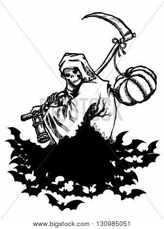 Vector illustration pen stroke Ghosts and pumpkin