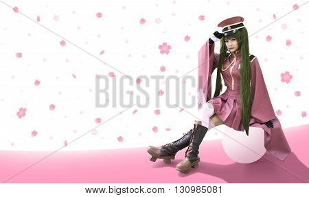 Japan anime cosplay with sakura graphic background