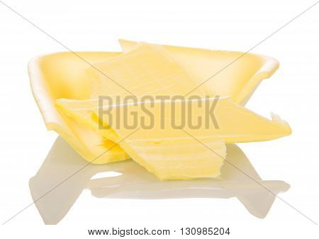 Parts of foam polystyrene tray for food isolated on white background.