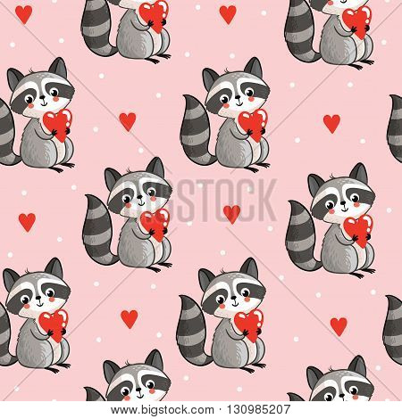Vector seamless illustration with cute raccoon holding a heart in his hands on a pink background. Perfect for greeting cards for Valentine's Day.