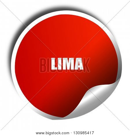 lima, 3D rendering, red sticker with white text