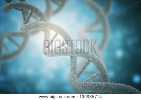 DNA closeup on blue background. 3D Rendering